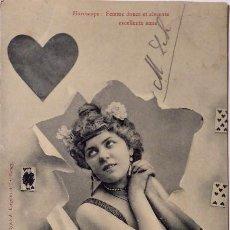 Postales: P-11662. HOROSCOPE. LES 4 DAMES. DAME DE COEUR. FOTO BERGERET ET CO. NANCY (FRANCIA). 1905. Lote 222550935
