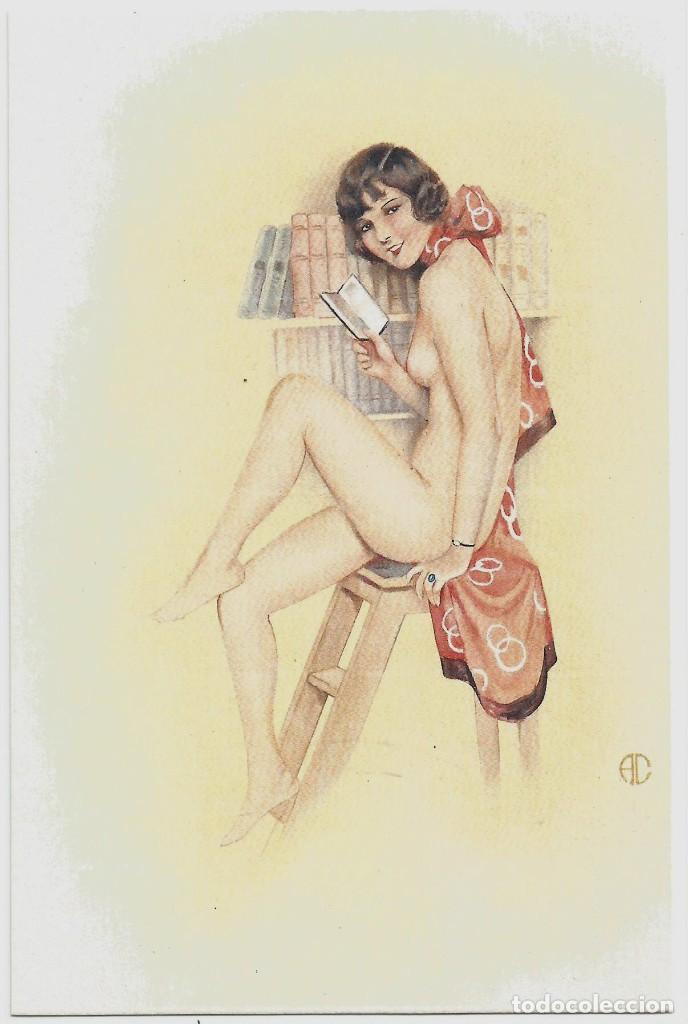 ANTIGUA POSTAL EROTICA - ILUSTRADOR AC - PAPEL VERJURADO (Postales - Postales Temáticas - Galantes y Mujeres)