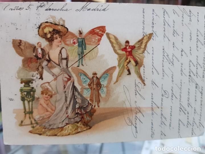 ANTIGUA POSTAL ROMANTICA FANTASIA HOMBRES MARIPOSA DORSO SIN DIVIDIR (Postales - Postales Temáticas - Galantes y Mujeres)