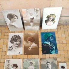 Postales: LOTE POSTALES ANTIGUAS VARIADAS FOTOGRAFIAS DE MUJERES ALGUNAS COLOREADAS VINTAGE. Lote 241065900