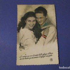 Postales: POSTAL FOTOGRÁFICA ROMÁNTICA. PAREJA. MARINERO. ESCRITA 1954.. Lote 243899115