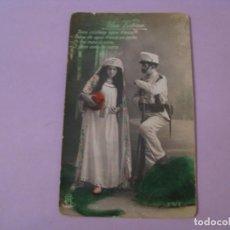 Postales: ANTIGUA POSTAL DE SOLDADO CRISTIANO Y MORA. UNA VICTORIA. ESCRITA.. Lote 246594310