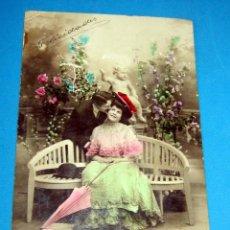 Postales: NOVIOS POSTAL COLOREADA ,AL 3458/6 FECHA 10 DE MAYO 1908. Lote 254408835