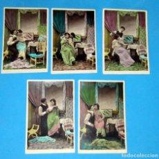 Postales: NOVIOS SERIE 5 POSTALES COLOREADA ,M F PARIS FECHA 1 ENERO 1909. Lote 254580100