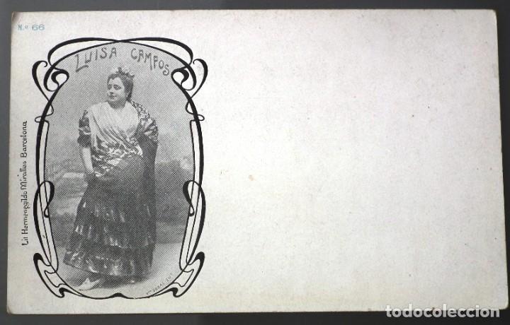 LUISA CAMPOS. Nº 66 LIT. HERMENEGILDO MIRALLES - FOTÓGRAFO DEBÁS (Postales - Postales Temáticas - Galantes y Mujeres)