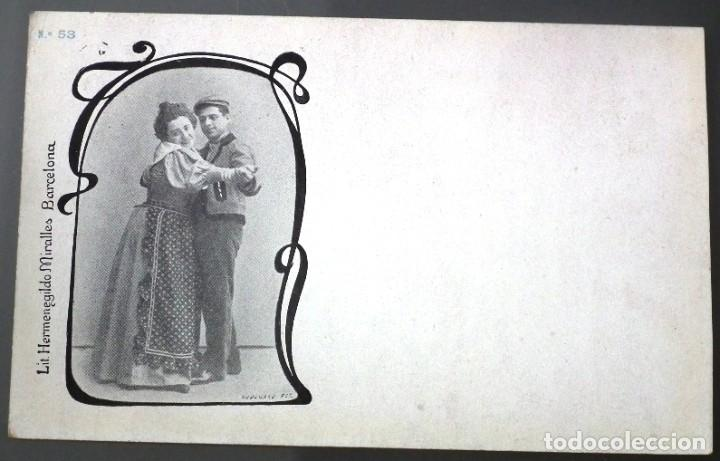 PAREJA BAILANDO Nº 53 LIT. HERMENEGILDO MIRALLES - FOTÓGRAFO PABLO AUDOUARD (Postales - Postales Temáticas - Galantes y Mujeres)