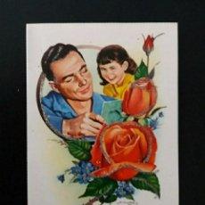 Postales: ANTIGUA TARJETA POSTAL PURPURINA INTERIOR RELIEVE TROQUELADO AÑOS 60 DÍA DEL PADRE. Lote 277247248