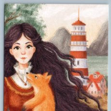 Postales: PRETTY GIRL WITH RED FOX LONG HAIR LIGHTHOUSE UNUSUAL ART RUSSIAN NEW POSTCARD - NATALIIA KHALZEVA. Lote 278752418