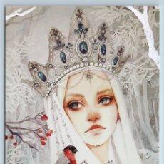 Postales: PRINCESS GIRL CROWN SNOW QUEEN BULLFINCH WINTER FOREST FANTASY NEW POSTCARD - OXANA VIKTOROVA. Lote 278752638