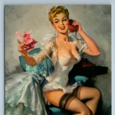 Postales: PIN UP GIRL CALLS ON OLD PHONE STOCKINGS CORSET DRESS FIGURE NEW POSTCARD - UNSIGNED. Lote 278752698