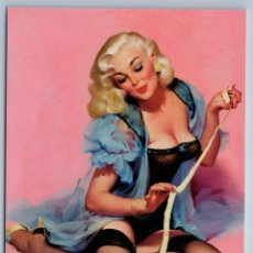 Postales: PIN UP GIRL PLAY WITH BACK CAT KITTEN STOCKINGS CORSET NICE FIGURE NEW POSTCARD - UNSIGNED. Lote 278752703