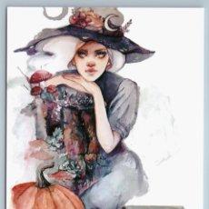Postales: PRETTY GIRL WITCH PUMPKIN MUSHROOM KEEPER OF FOREST FANTASY ART NEW POSTCARD - OXANA VIKTOROVA. Lote 278752808