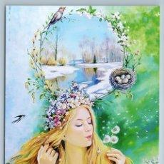 Postales: WOMAN LADY LONG HAIR SPRING SEASONS EASTER SWALLOW BIRD RUSSIA FANTASY POSTCARD - ELENA FORTUSHNOVA. Lote 278753008
