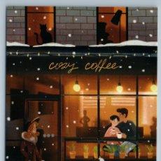 Postales: WOMAN WALK W/ DOG MASTIFF COZY COFFEE HOUSE COUPLE SNOW WINTER NEW POSTCARD - ANA OSEYNN. Lote 278753023