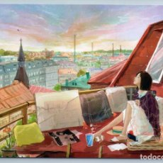 Postales: PRETTY GIRL ON ROOF COFFEE TIME CITY LANDSCAPE PICNIC UNUSUAL ART NEW POSTCARD - JUNGSUK LEE. Lote 278753108