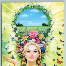 Postales: PRETTY WOMAN LONG HAIR BRAIDS SUMMER SEASONS BUTTERFLY RUSSIAN FANTASY POSTCARD - ELENA FORTUSHNOVA. Lote 278753308