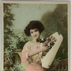 Postales: POSTAL RETRATO MUJER, CIRCE 4205. CIRCULADA 1910 MATASELLO EXPO BRUXELLES 1910. Lote 287798863