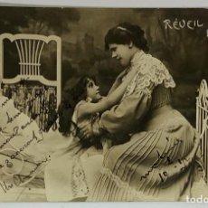 Postales: RETRATO MUJER CON NIÑA, CIRCULADA FRANCIA 1904. FOTO REAL.. Lote 287800333