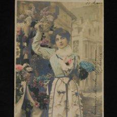 Postales: POSTAL ROMÁNTICA *CHICA CON FLORES NOMEOLVIDES*, COLOREADA. ESCRITA, 1904. Lote 288163428
