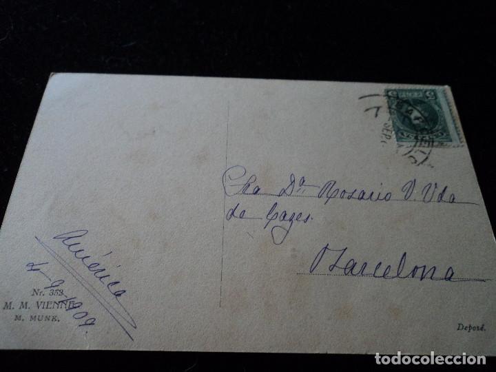 Postales: antigua postal m. munk nº 352 printed in austria, sello alfonso 5 cs, 1909 - Foto 2 - 288604313