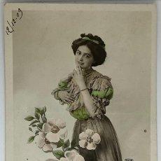 Postales: RETRATO MUJER ART DECÓ. CIRCULADA 1909. Lote 288734798