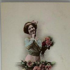 Postales: RETRATO MUJER ART DECÓ. GAGGE DE'AFFECTION CIRCULADA 1911. Lote 288734923