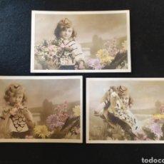 Postales: POSTAL ROMÁNTICA NIÑA CON FLORES. STEBBING PARIS, ETOILE. SERIE 901, LOTE DE 3 POSTALES.. Lote 288876748