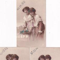 Postales: LOTE DE 3 POSTALES NIÑAS CON FLORES. ESCRITAS. SIN CIRCULAR.. Lote 289326273