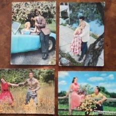 Postales: LOTE 4 FOTO ROMÁNTICA PAREJA AÑOS 60 ITALIANAS. Lote 295280358