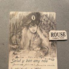 Postales: ANTIGUA POSTAL ILUSTRADA - R. CASAS - SALUT Y BON ANY NOU - CIRCULADA 1902 - 14X9 CM.L.B.. Lote 295494998