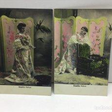 Postales: DOS POSTALES COLOREADAS DE ANTOÑITA PELLICER - AÑO 1905 - ARENYAS FOT.. Lote 296702378