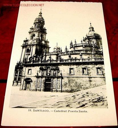 ANTIGUA POSTAL DE SANTIAGO - PUERTA SANTA (Postales - España - Galicia Antigua (hasta 1939))