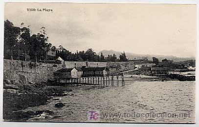 PONTEVEDRA. VIGO. LA PLAYA. ED. EUGENIO B. TETILLA. FOTOTIPIA DE HAUSER Y MENET. SIN CIRCULAR (Postales - España - Galicia Antigua (hasta 1939))