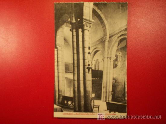 TARJETA POSTAL DE SANTIAGO - REAL COLEGIATA DE SAR , COLUMNAS INCLINADAS (Postales - España - Galicia Antigua (hasta 1939))