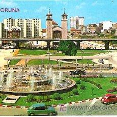 Postales: 124 LA CORUÑA -CUATRO CAMINOS , FUENTE LUMINOSA ****ALARDE ARRIBAS. Lote 7288451