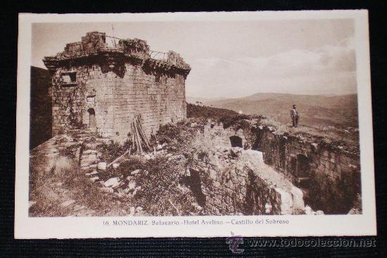 ANTIGUA POSTAL MONDARIZ.BALNEARIO.HOTEL AVELINO.CASTILLO DEL SOBROSO- L. ROISIN Nº 16- NO CIRCULADA (Postales - España - Galicia Antigua (hasta 1939))