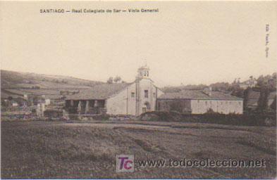 SANTIAGO. REAL COLEGIATA DE SAR. VISTA GENERAL. (EDIT. VARELA). (Postales - España - Galicia Antigua (hasta 1939))