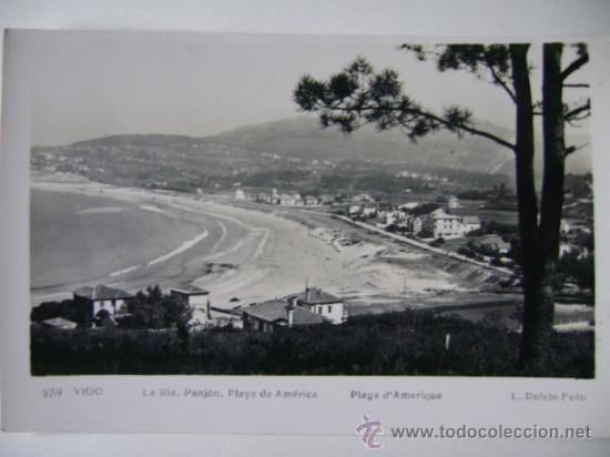 POSTAL ANTIGUA DE ESPAÑA CIRCA 1930 GALICIA VIGO LA RIA. PANJON. PLAYA DE AMERICA. (Postales - España - Galicia Antigua (hasta 1939))
