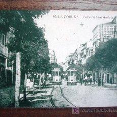 Postales: POSTAL ANTIGUA GALICIA CORUÑA. CALLE DE SAN ANDRÉS. GRAFOS Nº 80. . Lote 25508598