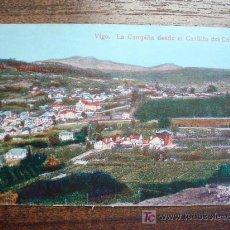 Postales: POSTAL ANTIGUA GALICIA VIGO. LA CAMPIÑA DESDE EL CASTILLO DEL CASTRO. EDICIÓN J. BUCETA. . Lote 26809654