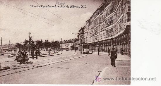 LA CORUÑA.AV.DE ALFONSO XIII.CON TRANVIA.EXPENDEDURIA DE TABACOS A.SANCHEZ.CIRCULADA EN 1928 (Postales - España - Galicia Antigua (hasta 1939))