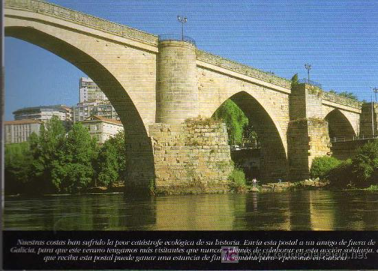 POSTAL - PUENTE ROMANO - OURENSE - ESTRELLA GALICIA (Postales - España - Galicia Moderna (desde 1940))