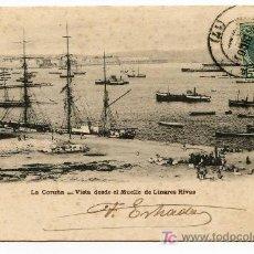 Postales: LA CORUÑA. VISTA DESDE EL MUELLE DE LINARES RIVAS. LOMBARDERO. REVERSO SIN DIVIDIR. CIRCULADA 1902. Lote 26484312
