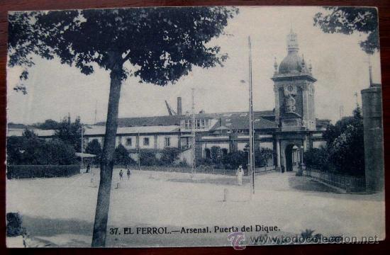 Antigua postal de el ferrol arsenal puerta d comprar for Puerta casa antigua