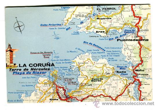Mapa De La Coruña Galicia España.Antigua Postal Circulada La Coruna Mapa Turi Sold
