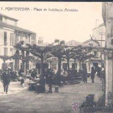 Postales: PONTEVEDRA.- PLAZA DE INDALECIO ARMESTO. Lote 22275476