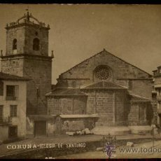 Postales: ANTIGUA FOTO POSTAL DE CORUÑA - IGLESIA DE SANTIAGO - FERRER - SIN CIRCULAR. Lote 23782771