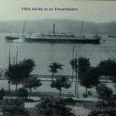 Postales: VIGO: PONTEVEDRA. SALIDA DE UN TRASATLÁNTICO. FOTOTIPIA HAUSER Y MENET. EUGENIO B. TETILLA. AÑOS 20. Lote 25127812