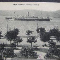 Postales: VIGO.- SALIDA DE UN TRASATLÁNTICO – FOTOTIPIA HAUSER Y MENET – EUGENIO B. TETILLA. VIGO. Lote 26688321