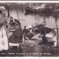 Postales: VIGO (PONTEVEDRA).- FAENAS DE PESCA EN LA RIBERA DEL BERBÉS. Lote 27706859